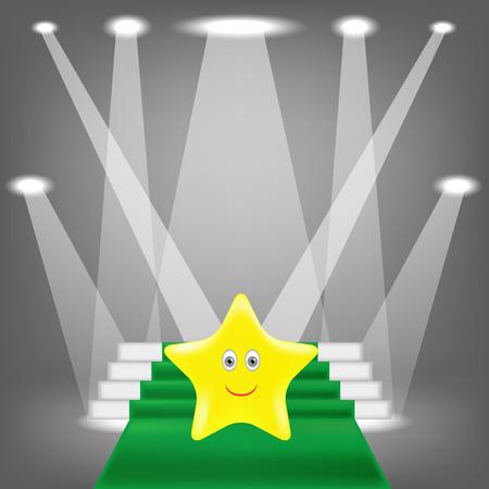 green carpet: Single Gold Yellow Star on Green Carpet.