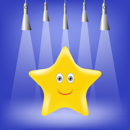 yellow star: Single Gold Yellow Star on Blue Background