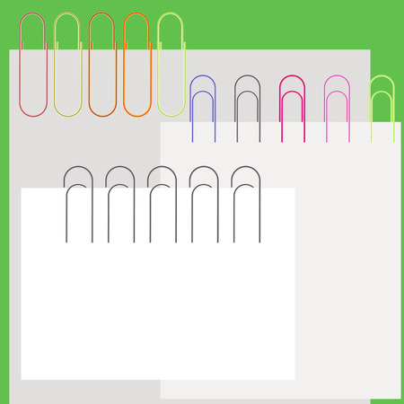 Collection Colorful Paper Clips and Papers. Office Supplies.