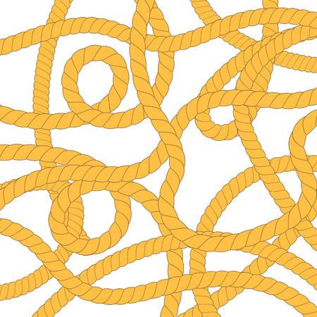 Gordian Knot. Rope Set Isolated on White Background. Stock Photo