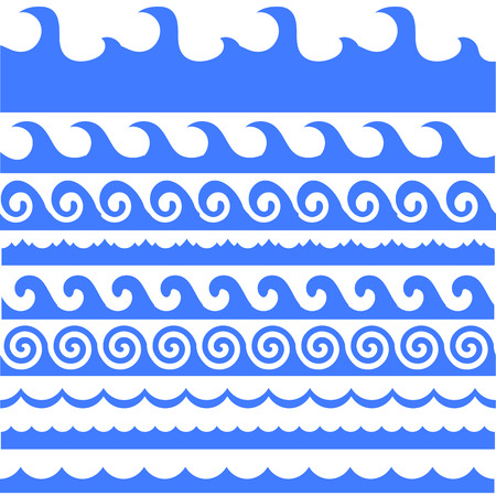 sea waves: Sea Waves Set Isolated on White Background. Stock Photo