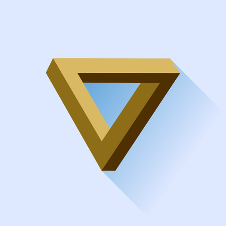 Single Brown Triangle Isolated on Blue Background. photo