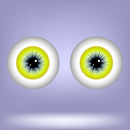 disbelief: Two Eyes Isolated on Blue Background. Part of Human Face.