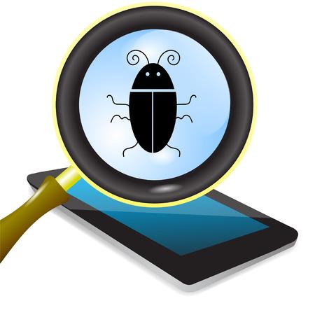 computer bug: Computer Bug. Computer Virus under Magnifying Glass Stock Photo