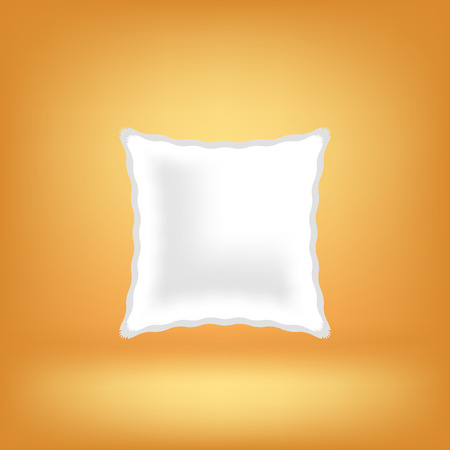 headboard: White Soft Pillow Isolated on Orange Background. Stock Photo