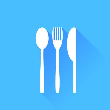 knife fork: Knife Fork and Spoon Silhouette isolated on Blue Background. Stock Photo