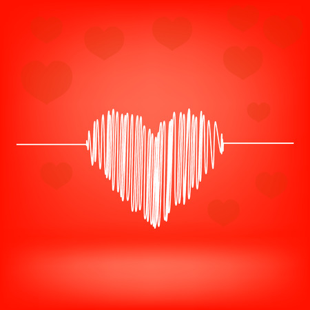 White Heart on Red Background. Heart Icon. photo
