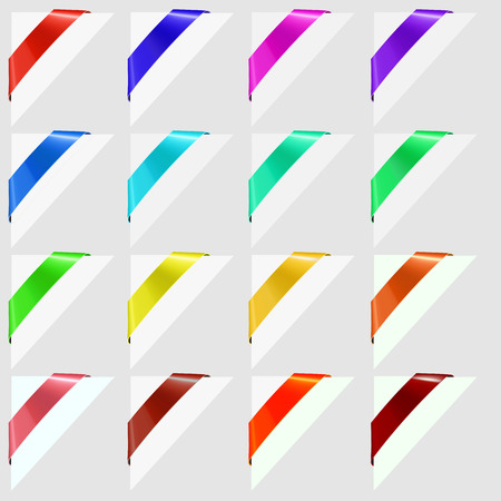banderole: Colorful Corners Marks Isolated on Grey Background.