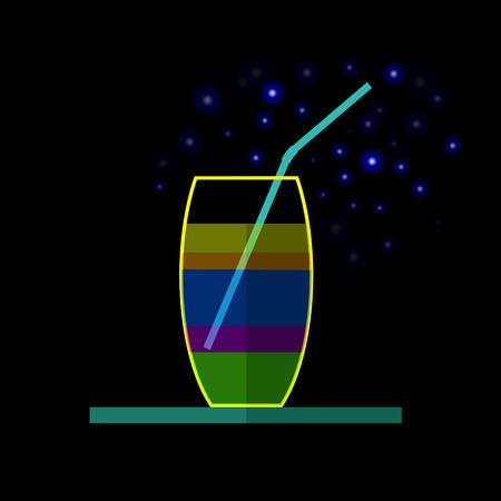 stelle blu: Cocktail di vetro con Blue Stars isolato su sfondo nero Vettoriali