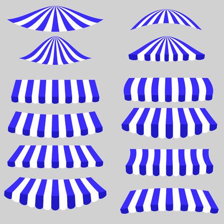 vitrine: Blue White Tents Isolated on Grey Background.