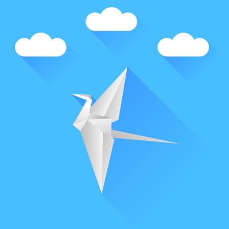 grey sky: Grey Paper Bird Isolated on Blue Sky Background. Illustration