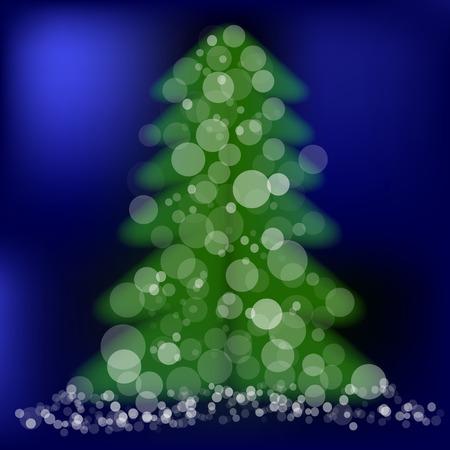 winter night: Green Pine on Winter Night Blue Background