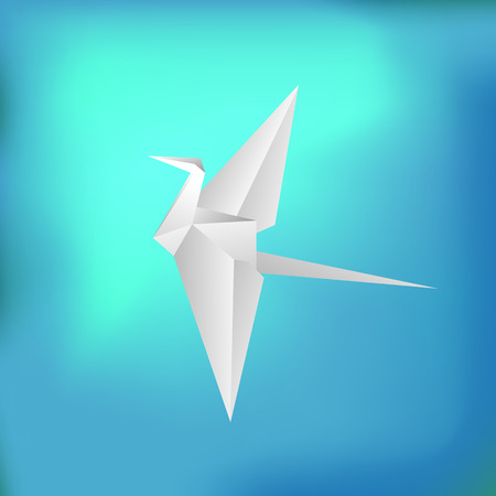 flying paper: Flying Paper Bird on Blue Absstract Background