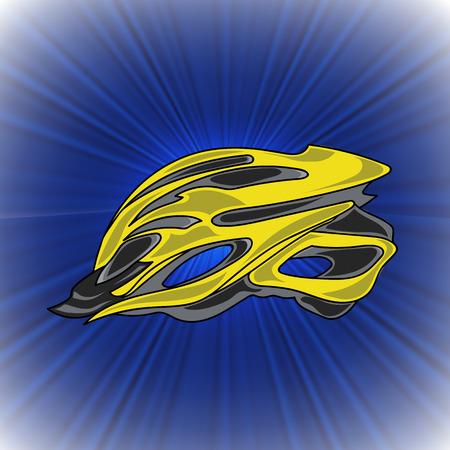 blue wave: Yellow Bike Helmet on Blue Wave Background