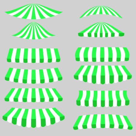 vitrine: Green White Tents Icons Isolated on Grey Background