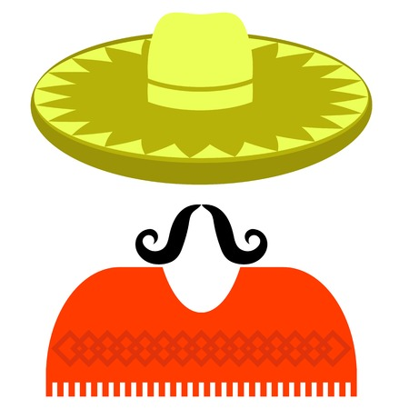 poncho: Hat Mustache Poncho  Isolated on White Background Illustration