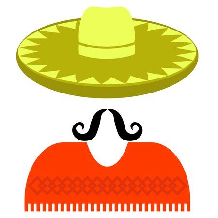 poncho: Sombrero Bigote Poncho aisladas sobre fondo blanco