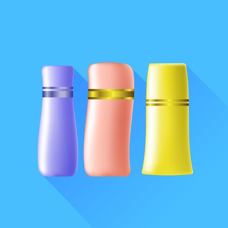 aftershave: Set of Cosmetic Tubes Isolated on Blue Background.