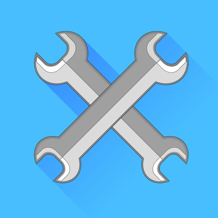 fitter: Metal Wrench Icon Isolated on Blue Background. Stock Photo