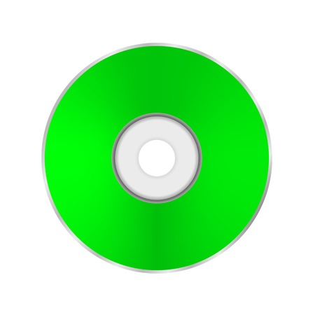 cd r: Green Compact Disc Isolated on White Background. Stock Photo
