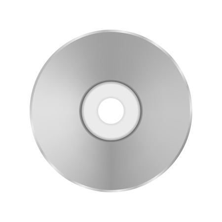 cd r: Grey Compact Disc Isolated on White Background.