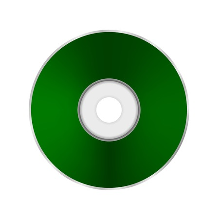 compact: Green Compact Disc Isolated on White Background. Stock Photo