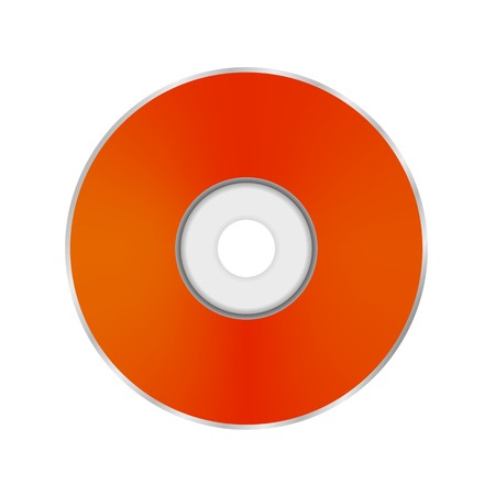cd r: Orange Compact Disc Isolated on White Background