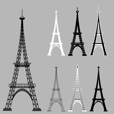 eifel: Eiffel Tower Silhouettes Isolared on Grey Background.