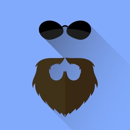 Beard and Sunglasses Icon Isolated on Blue Background Stock Photo