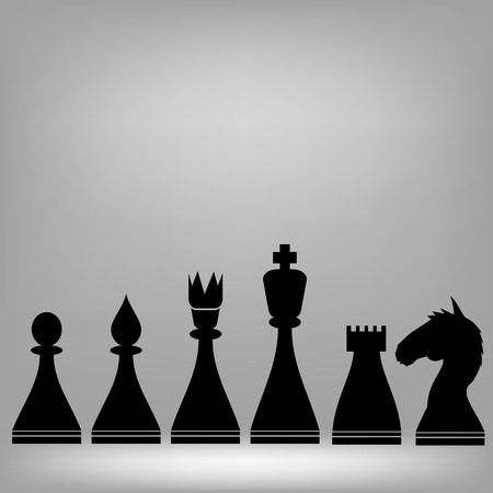 Chess Pieces Silhouettes on Grey Background