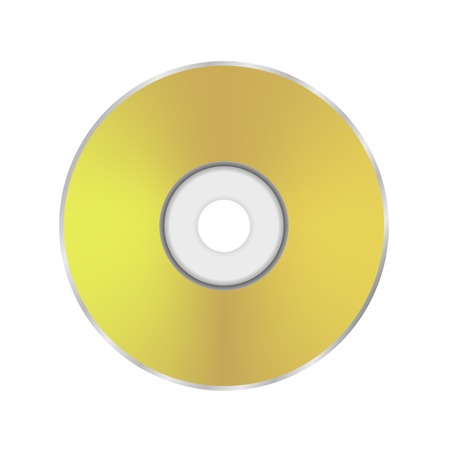 cd r: Gold Compact Disc Icon Isolated on White Background.