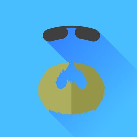 style goatee: Beard and Sunglasses Icon Isolated on Blue Background.