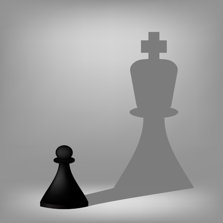 Black Pawn with King Shadow Isolated on Grey Background. Stock Photo