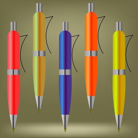 ball pens stationery: Conjunto de plumas de colores aislados sobre fondo marrón Foto de archivo