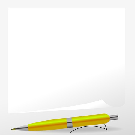 clerical: Yellow Pen and Paper Isolated on Grey Background