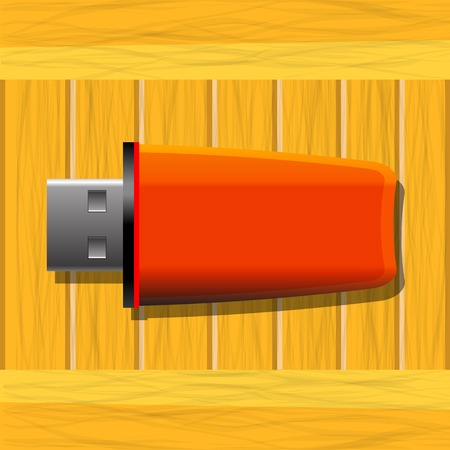 microdrive: Red Memory Stick on Wood Table Stock Photo