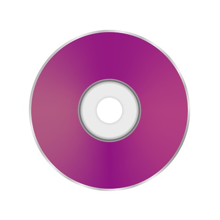 cd r: Pink Compact Disc Isolated on White Background