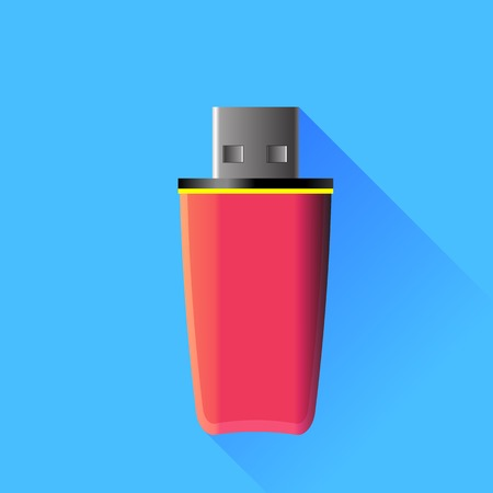 memory stick: Pink Memory Stick Isolated on Blue Background.