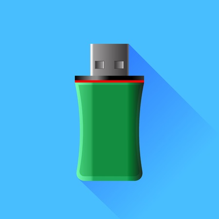 microdrive: Green Memory Stick Isolated on Blue Background. Stock Photo