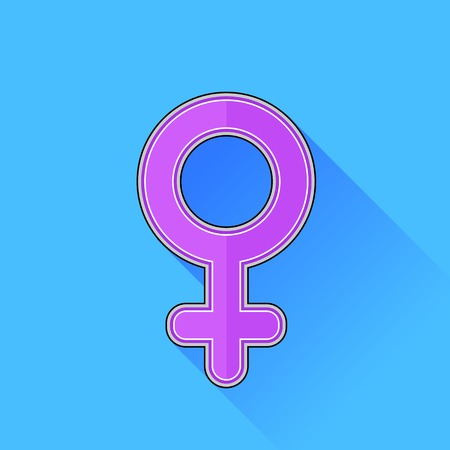 sexual health: Pink Female Icon Isolated on Blue Background