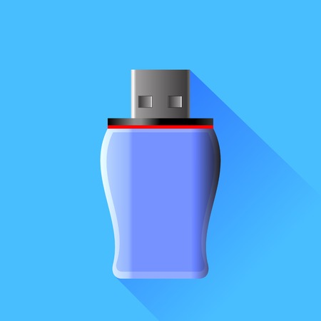 microdrive: Memory Stick Isolated on Blue Background Stock Photo