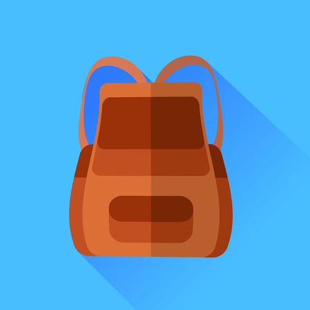 Brown Backpack Isolated on Blue Background