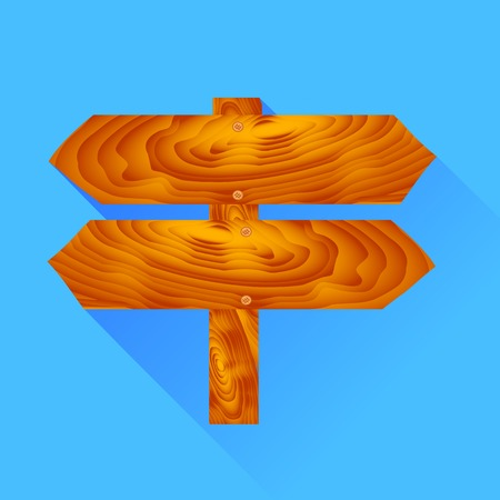 plywood: Wooden Signpost Icon Isolated on Blue Background Stock Photo