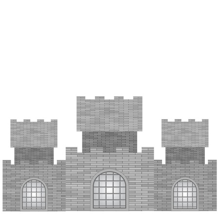 turret: Grey Castle with Grids  Isolated on White Background