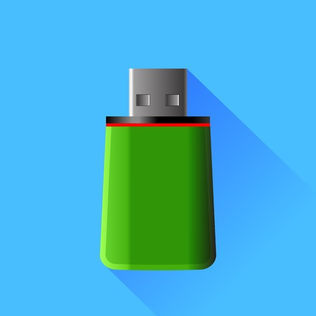 memory stick: Green Memory Stick Isolated on Green Background