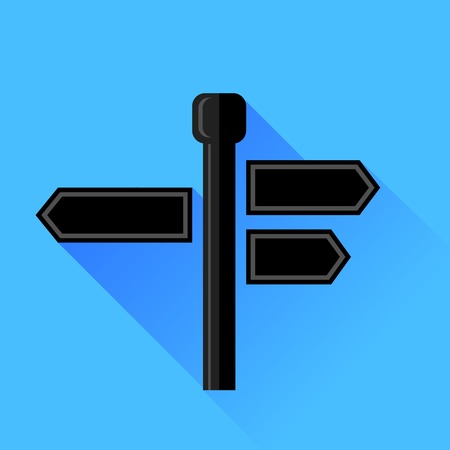 guidepost: Signpost Icon Isolated on Blue Background. Long Shadow.