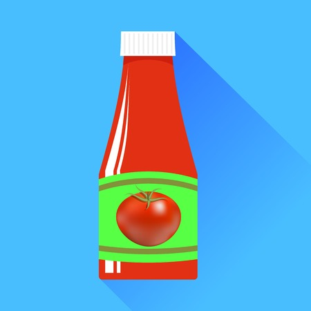 Tomato Ketchup in Glass Bottle on Blue Background photo