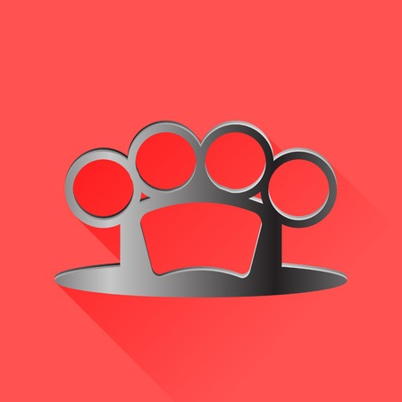 knuckle: Metal Knuckle Isolated on Red Background