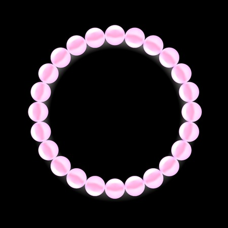 pink pearl: Pink Pearl Necklace Isolated on Black Background Illustration