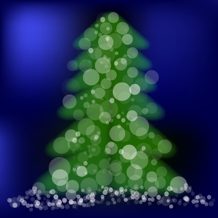 adorned: Green Pine on Winter Night Blue Background